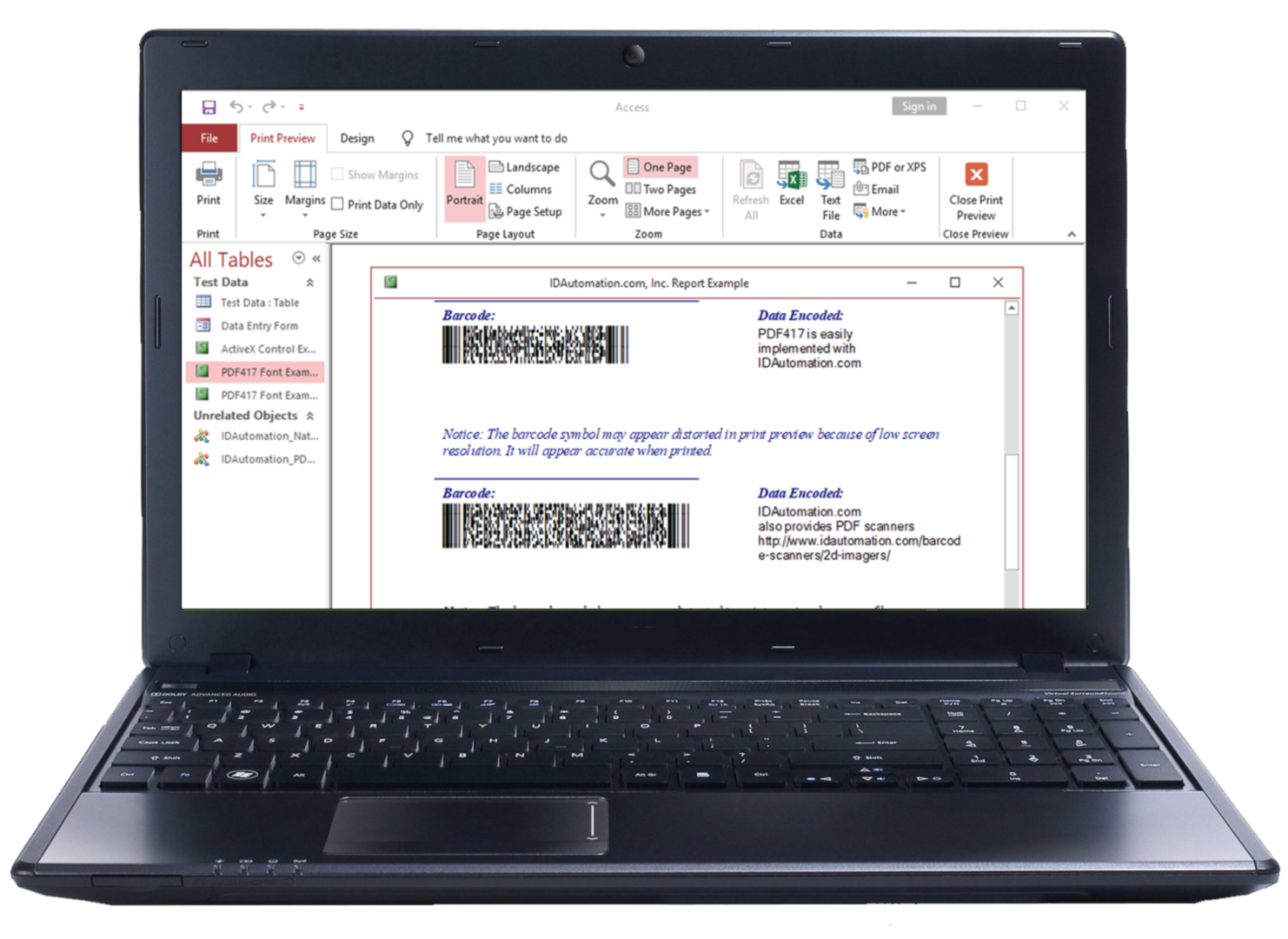 Laptop barcode example