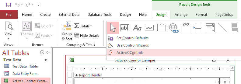 Add ActiveX Control to Access.