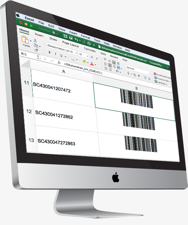 Creating barcodes in Excel on Mac